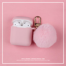 Musim Dingin Lucu Lucu Merah Muda Fox Fur Ball Plush Gantungan Kunci Earphone Silicon Case untuk Airpods PRO 2 Pelindung Nirkabel Bluetooth Headset(China)