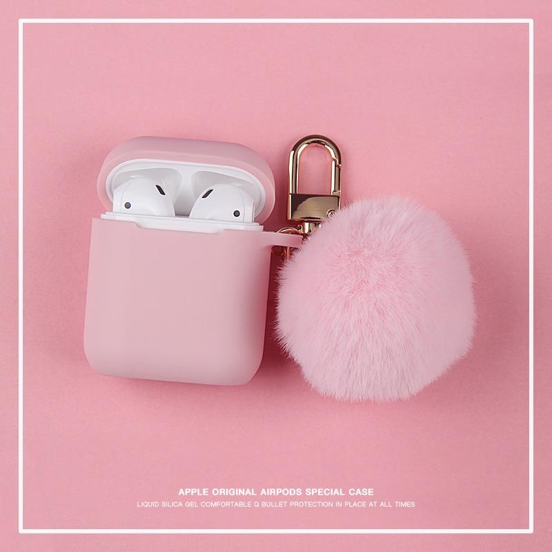 Lindo invierno divertido zorro Rosa peluche Bola de piel llavero auricular funda de silicona para Airpods pro 2 Auriculares inalámbricos con Bluetooth protectora|Accesorios de auriculares|   - AliExpress