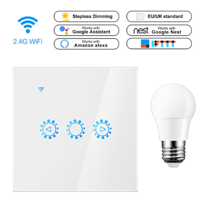 Led Dimmer 220V Smart Wifi Touch Control Switch Stepless Dimmer With Bulb Compatible With Amazon Alexa Google Assistant Ewelink