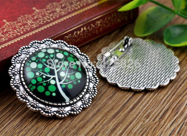 New Fashion  2pcs 25mm Inner Size Antique Silver Brooch Simple Style Cabochon Base Setting (A3-08)New Fashion  2pcs 25mm Inner Size Antique Silver Brooch Simple Style Cabochon Base Setting (A3-08)