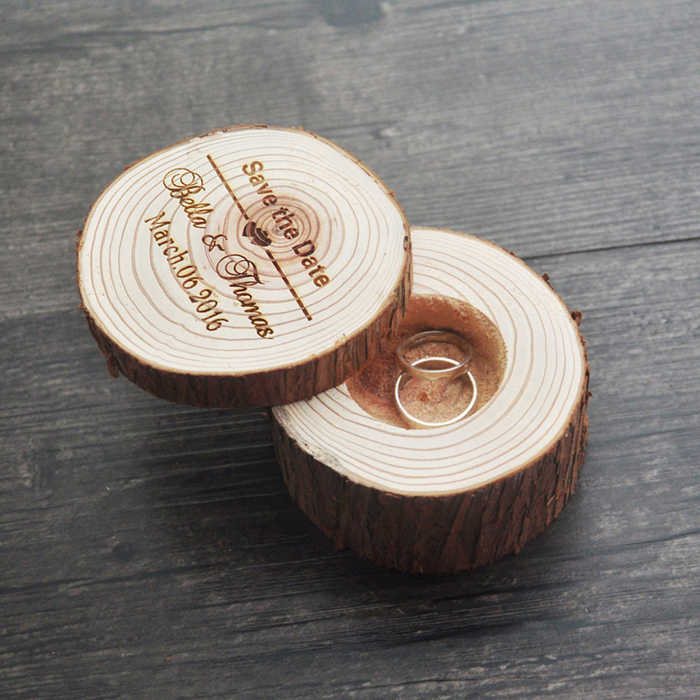 Custom Rustic Ring Bearer, Engraved Wood Ring Box,Wedding