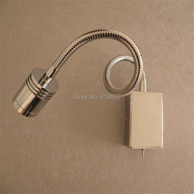 Topoch Stainless Steel Wall Lighting Built-in Driver Switch on/off Aluminum Hose 3W Integral LED Multipurpose for Room RV Boat