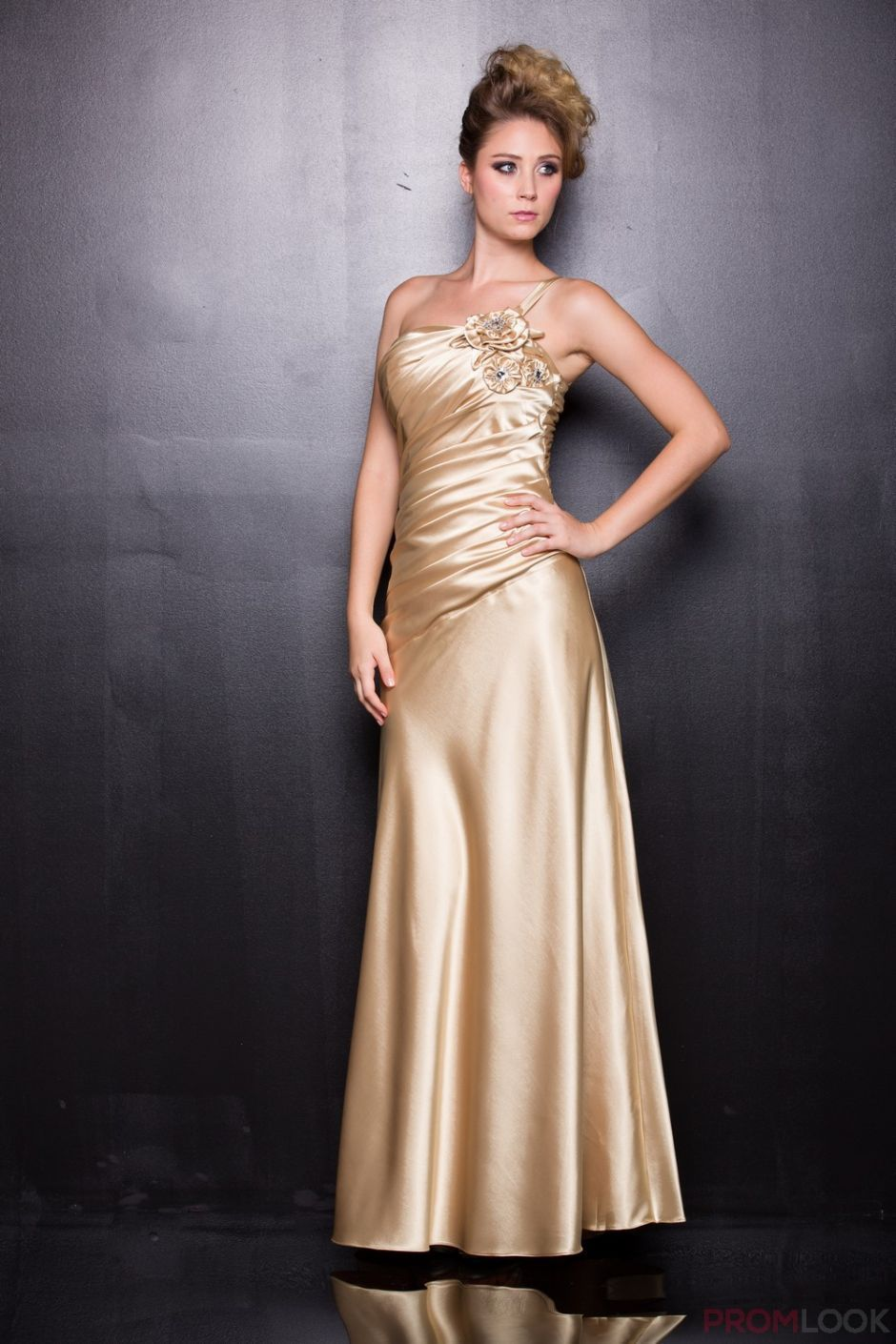 2014 New Arrival Evening Dress Silver Gold One Shoulder Silk Satin