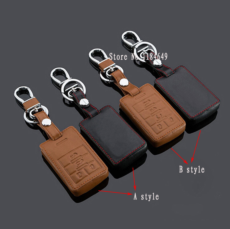 ontto 4 Buttons PU Leather Key Fob Cover Bag Fit for Cadillac ATS CTS XTS Remote Smart Key Fob Key Case with Keychain Red String