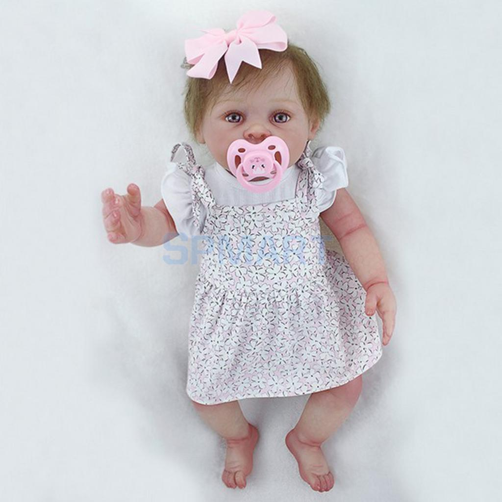 Very Vivid 20inch Full Silicone Reborn Girl Doll Toddler Newborn Baby Doll with Clothes, Magnetic Pacifier and Nursing Bottle