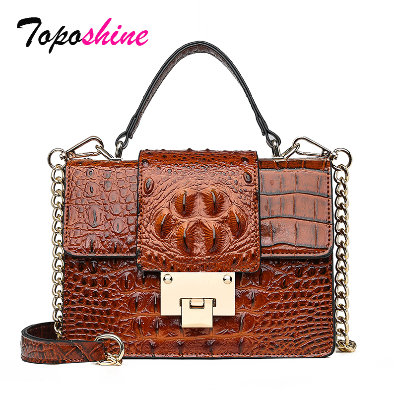 Handbag Female Shoulder-Bag Crocodile-Pattern Casual New-Fashion Lock-Lock Wild