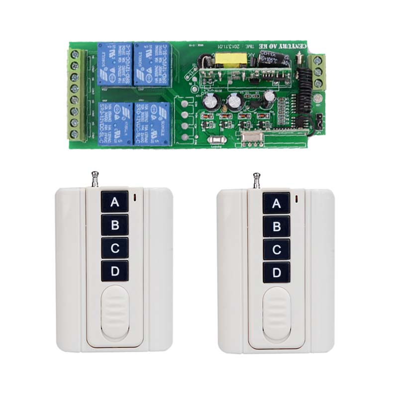 Smart Home AC 110V 220V 250V 4CH 10A Relay Wireless Remote Control Switch Wireless Switch Receiver +2PCS Transmitter ac 250v 20a normal close 60c temperature control switch bimetal thermostat