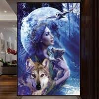 Bricolage 5D diamant peinture paysage loup fille point de croix mosaïque diamant broderie couture modèles strass peintures