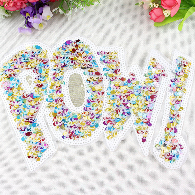 1pcs Embroidered patches for clothes sequins  letter pow biker patch deal with it clothing DIY Motif Applique free shipping