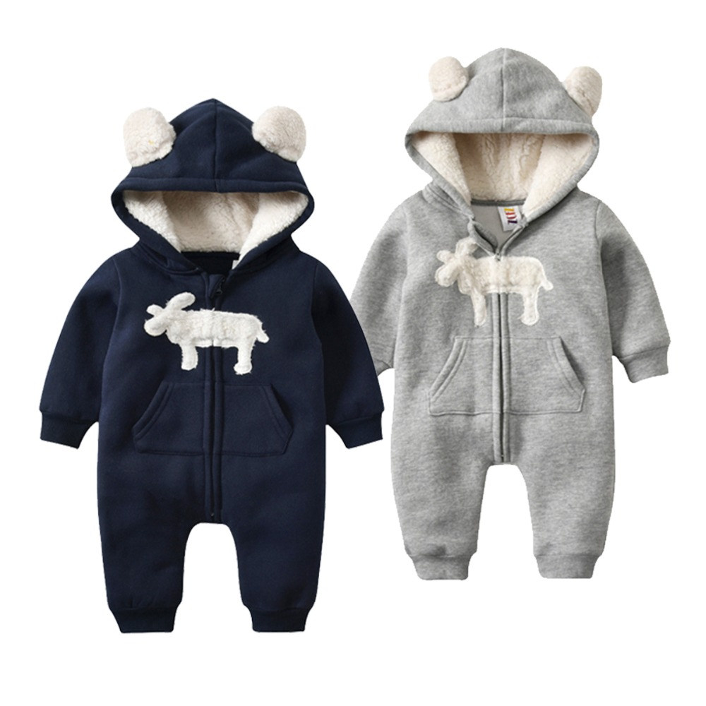 Morningtwo 2018 Baby Warm Clothes Animal Rompers for newborn baby In Winter Solid baby Hooded Climb