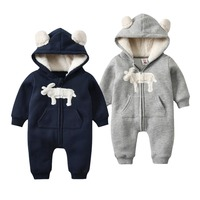 Morningtwo 2018 Baby Warm Clothes Animal Rompers for newborn baby In Winter Solid baby Hooded Climb Clothes For Baby Boy Clothes
