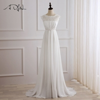 ADLN New Arrival Chiffon Wedding Dress Cap Sleeve Scoop Neck Lace A Line Wedding Dress Bridal