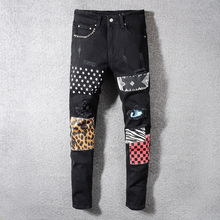 Fashion Streetwear Men Jeans Black Elastic Ripped Jeans Men Rivets Pocket Printed Pants Patchwork Designer Hip Hop Slim Jeans все цены