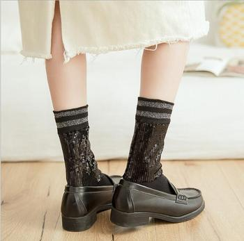 2019 Autumn And Winter New Ladies Cotton Tube Sequins Solid Color Pile Socks