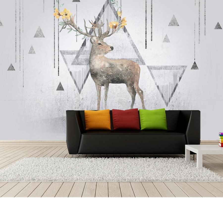 Abstract elk Nordic style modern wallpaper ,living room TV sofa background children bedroom 3d cartoon mural papel de parede european style murals ktv bar cafe personalized wallpaper abstract wallpaper living room sofa arts wallpaper mural