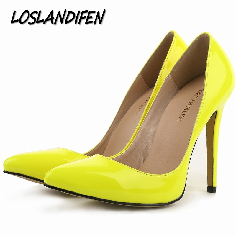 Loslandifen brand new women's pumps high heels shoes woman wedding party dress ladies pointed toe stiletto size 34-42 11cm high plus big size 34 47 shoes woman 2017 new arrival wedding ladies high heel fashion sweet dress pointed toe women pumps a 3