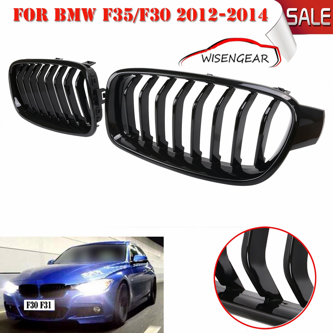High quality glossy black front kidney grille bumper grill for bmw f30 f31 f35 320i 328i