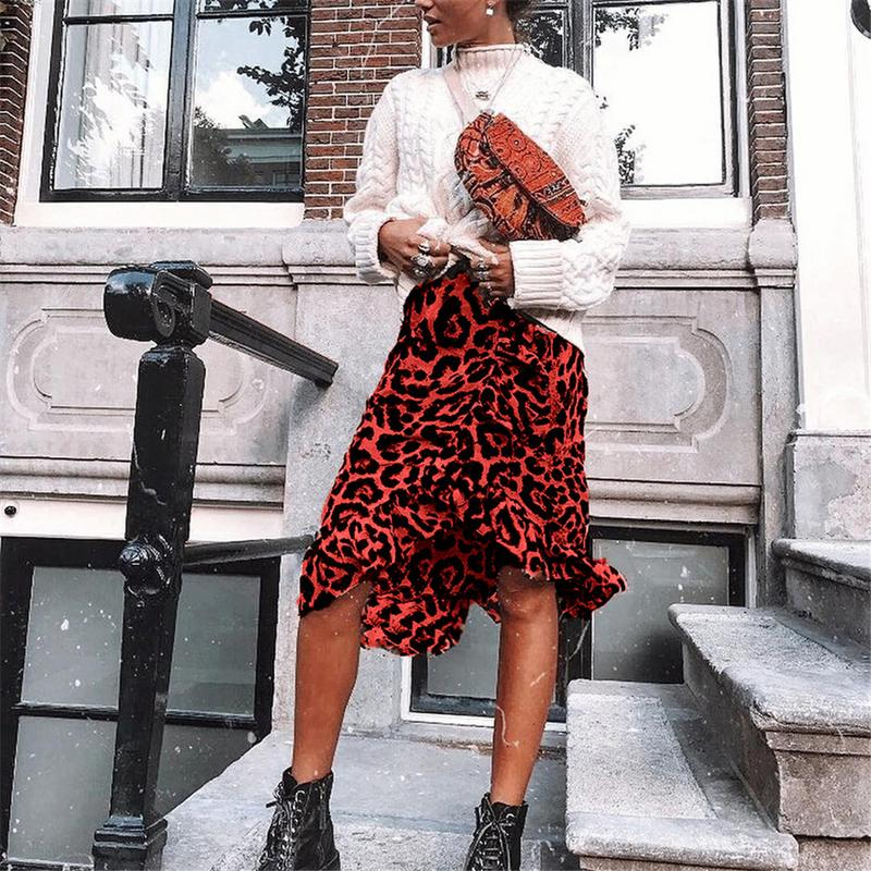 43fb0a8955 Comprar Leopardo Saias Longas Mulheres 2018 Saias Da Mulher Da Forma Do  Vintage Streetwear Inverno Saia Jupe Longue Femme Saia Plissado Irregular  Vermelho ...