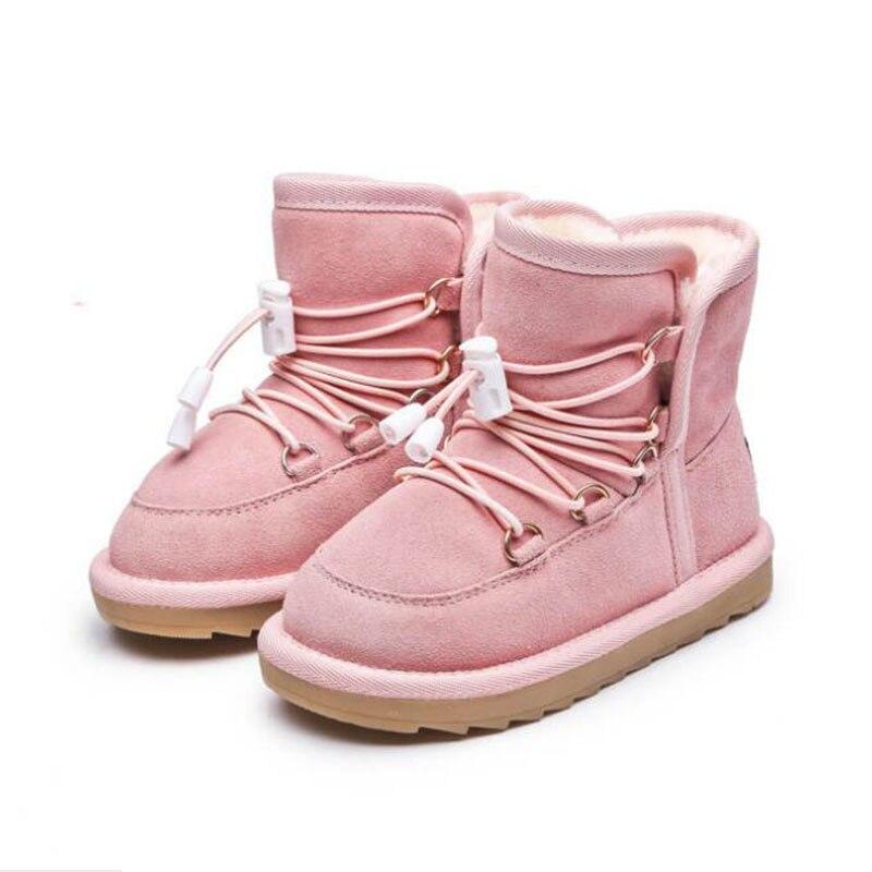 2018 invierno nuevos niños y niñas caliente moda nieve botas niños Calidad Algodón botas de piel gruesa dentro de vaca suela de músculo zapatos