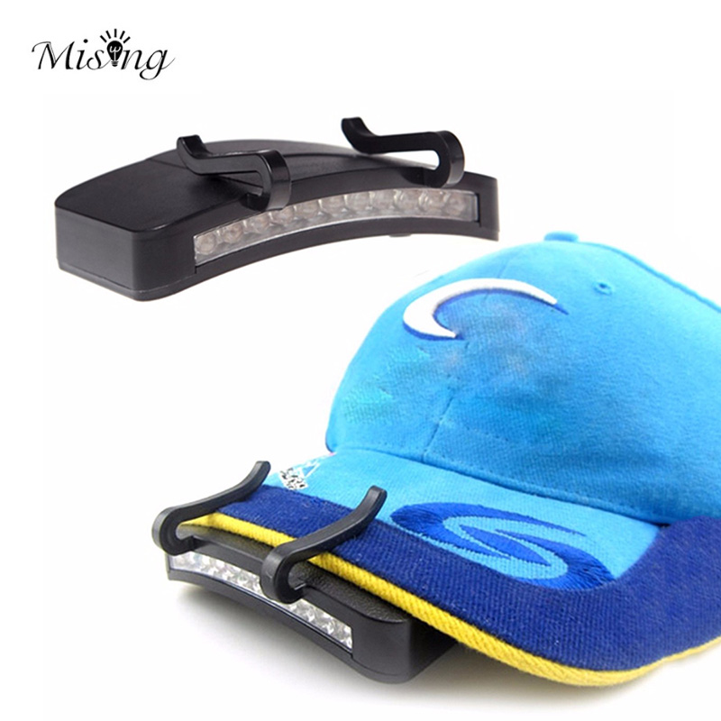 MISING Portable Cap Light Headlamp Headlight 11 LED Bulbs Outdoor Clip-On Camping Lamp Head Lamp Fishing Light Night Lights