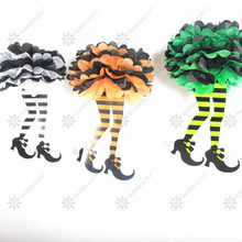 Pack of 3 Assorted Witch Feet Witchs Boot Shoes with Tissue Pom Skirt Halloween Party Hanging Decor