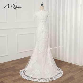 ADLN Real Photo Short Sleeves Mermaid Wedding Dresses Vestidos De Novia O-neck Applique Long Lace Wedding Gowns