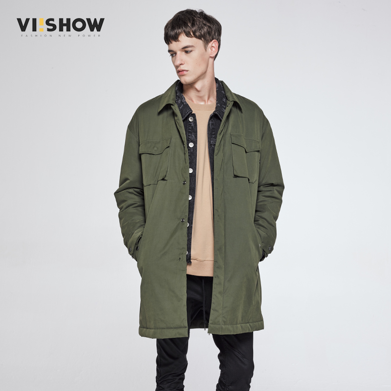 VIISHOW Winter Jacket Men Long Parka Coats Mutil Pocket Casual Long Windbreak Hip Hop Coat for Men Clothes MC16064 stylish lace splice off the shoulder crop top for women