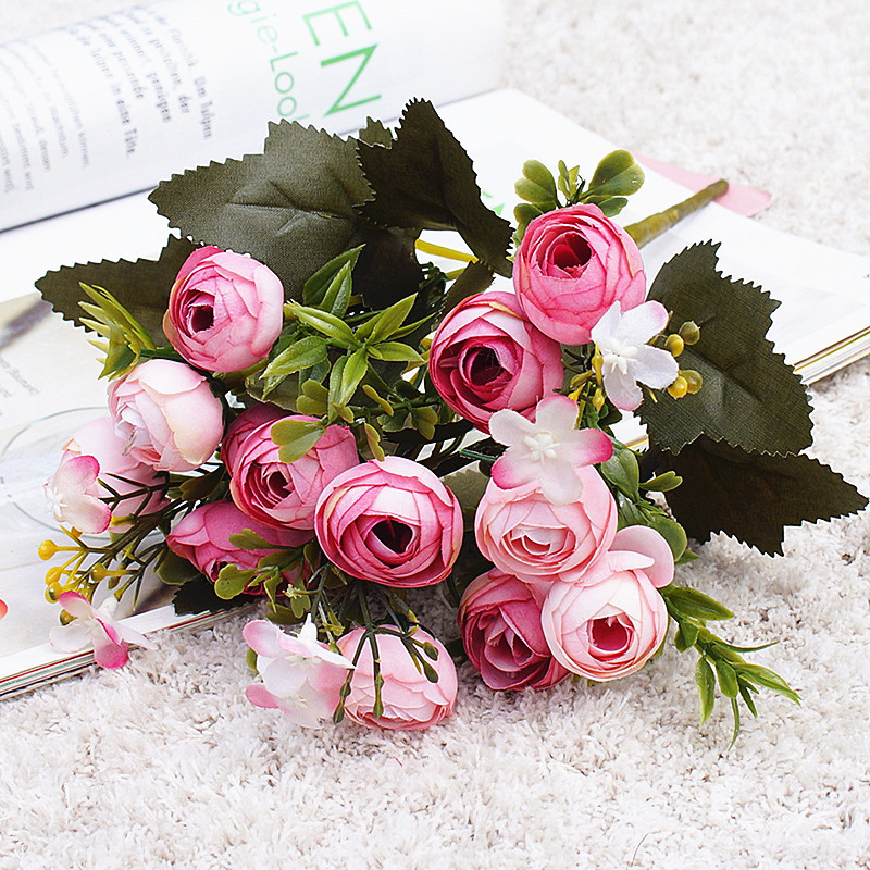 Image 3 - 10Heads mini spring peonies silk Artificial Flowers tea rose flores fleur artificielles for Home table decoration fake Flower-in Artificial & Dried Flowers from Home & Garden