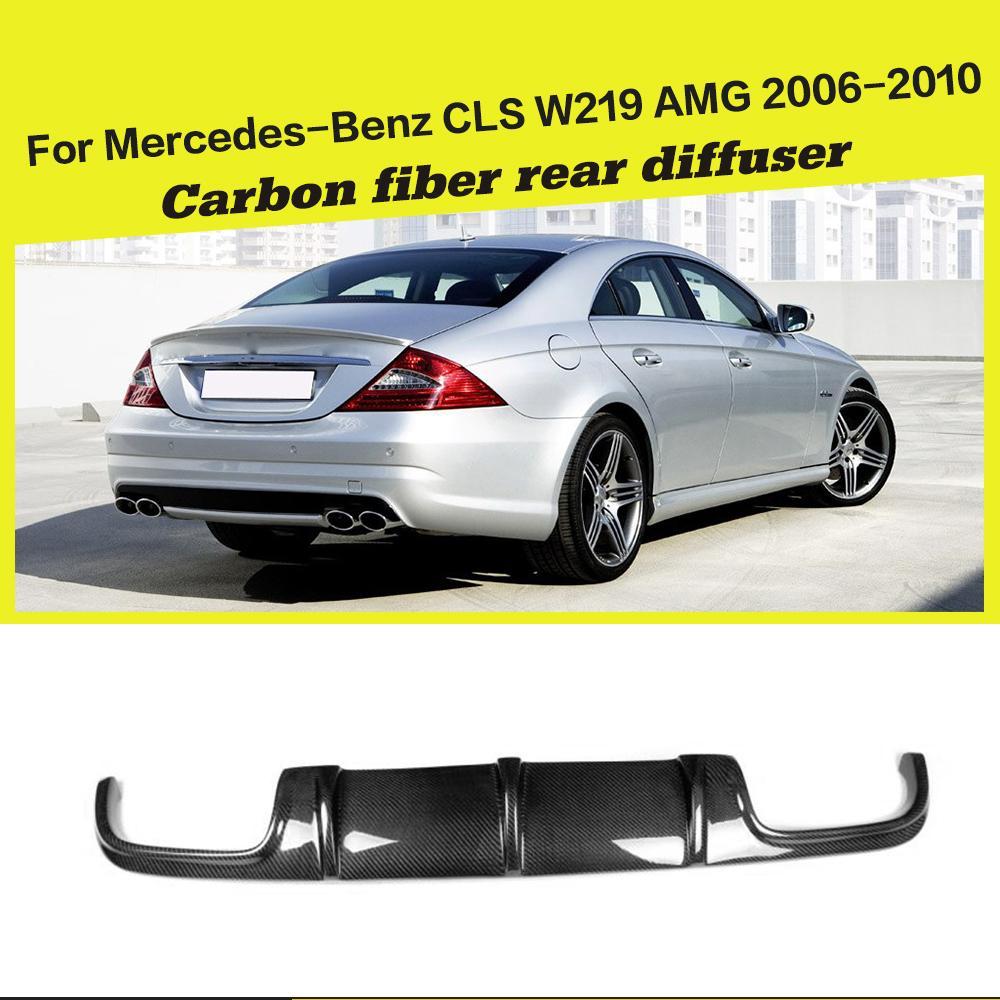 Carro-Styling Traseira De Carbono Difusor Car Bumper Lip Spoiler Para Mercedes-Benz Classe CLS W219 CLS63 AMG Bumper