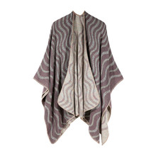 TOLINA wavy style Women Knitted Cashmere Poncho Capes Shawl Cardigans Sweater Coat