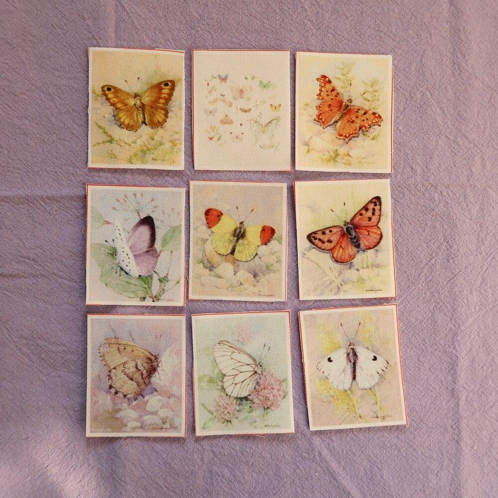 Маленькая парусина с бабочками, 5x6 см, хлопковое и льняное стеганое одеяло с цифровой печатью для шитья своими руками, лоскутное шитье, 9 шт./л...