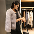 Горячее надувательство новый подлинный женщины натуральный мех жилет тонкий роскошный благородный реального фокс меховой воротник пальто женщин с короткими рукавами пальто