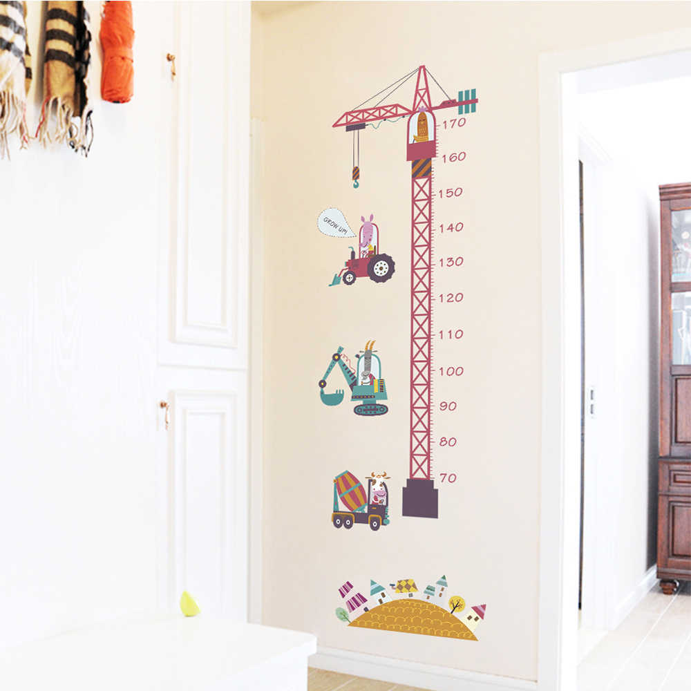 1 pc cartoon tower crane childrens room growing height measurement wall sticker 50150cm function