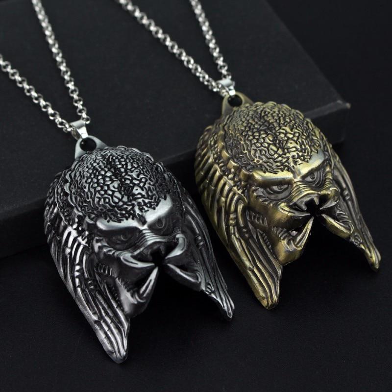Us 14 30 Offfilm Fans Geschenk Film Schmuck Zubehör Alien Predator Metall Alien Maske Anhänger Halskette Frauen Männer Suspension Bijouterie In