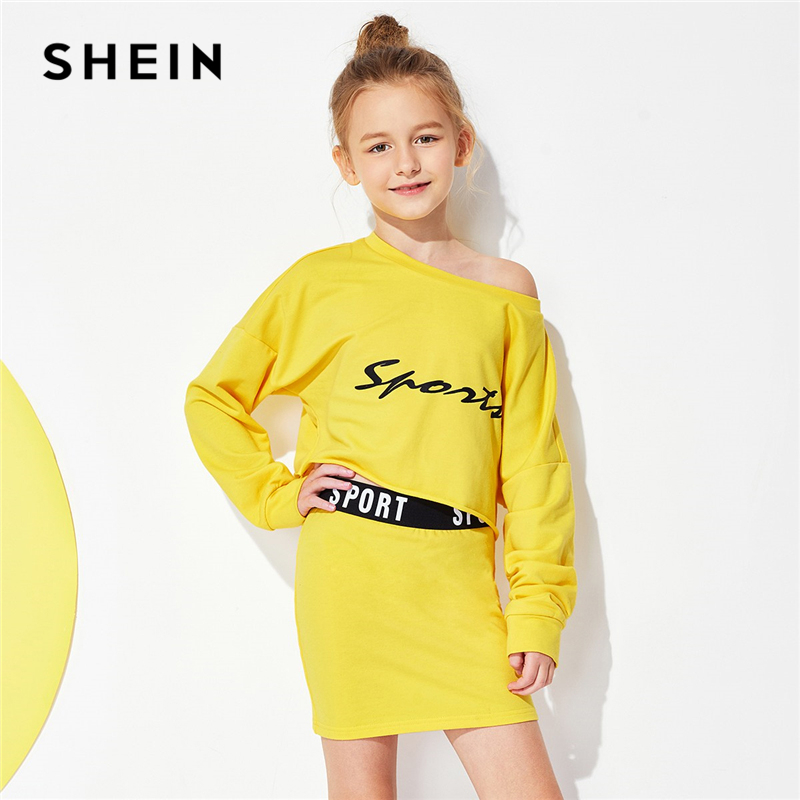 SHEIN Yellow Letter Print Top And Skirt Set Child Cute Casual Girls Clothes 2019 Spring Korean Fashion Long Sleeve Kids Clothing retro rose print letter sleeveless fit and flare dress