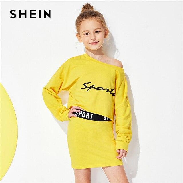 SHEIN/комплект из желтого топа с буквенным принтом и юбки; Милая повседневная одежда для девочек; коллекция 2019 года; модная Корейская одежда с длинными рукавами для детей