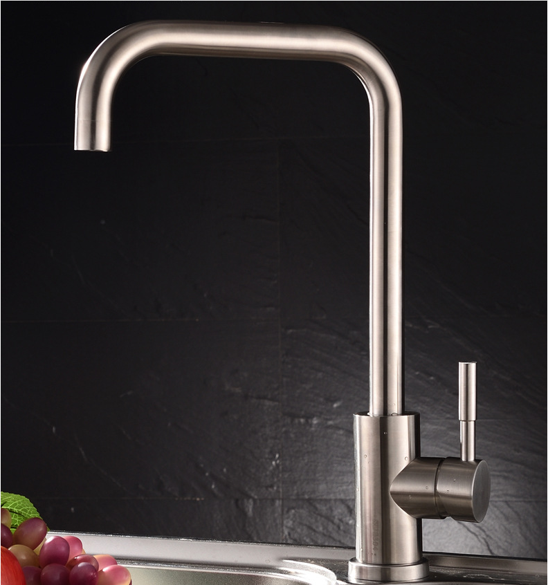 ФОТО 304 Stainless Steel Lead free Brushed Satin Finish Kitchen Sink 360 Swivel Mixer Kitchen Faucet Drinking Water Filter Tap Faucet