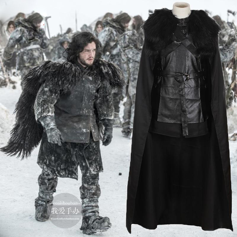 Song of Ice and Fire Game Of Thrones Cosplay Men Jon Snow Cloak Cosplay Halloween Costume Wig