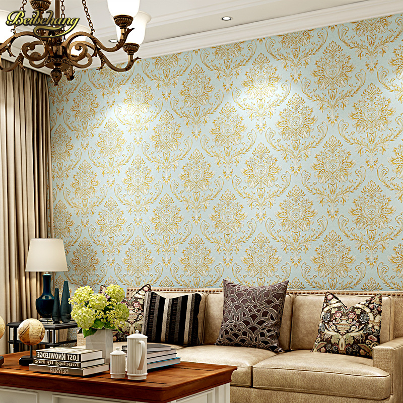 Beibehang papier peint papier peint 3D damassé papier peint européen rouleau revêtement mural toile de fond papier peint texturé décor à la maison
