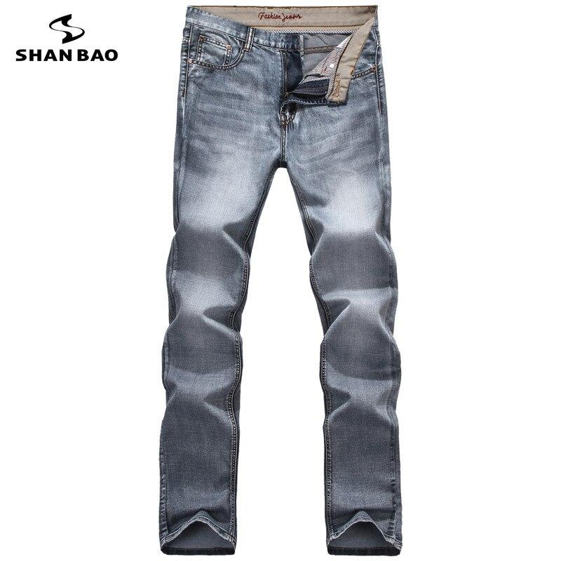 Hommes de jeans occasionnels de mode lettre broderie 2017 automne et d'hiver marque vêtements haute qualité nouveau coton gris denim pantalon