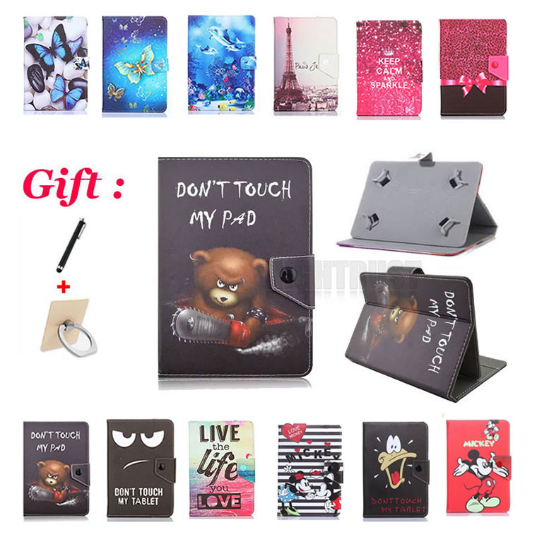 """Universal 10.1 Inch Cartoon Pu Leather Stand Case For TurboPad 1016 4G/1015 3G/1014i 3G 10.1"""" Tablet Cover + 2 Gifts"""