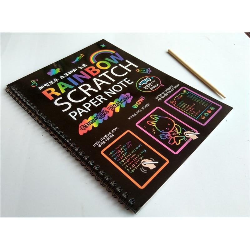 19x26 см большая Волшебная цветная Радужная скретч бумага Блокнот черный Diy Рисование игрушки скребковая живопись малыш каракули