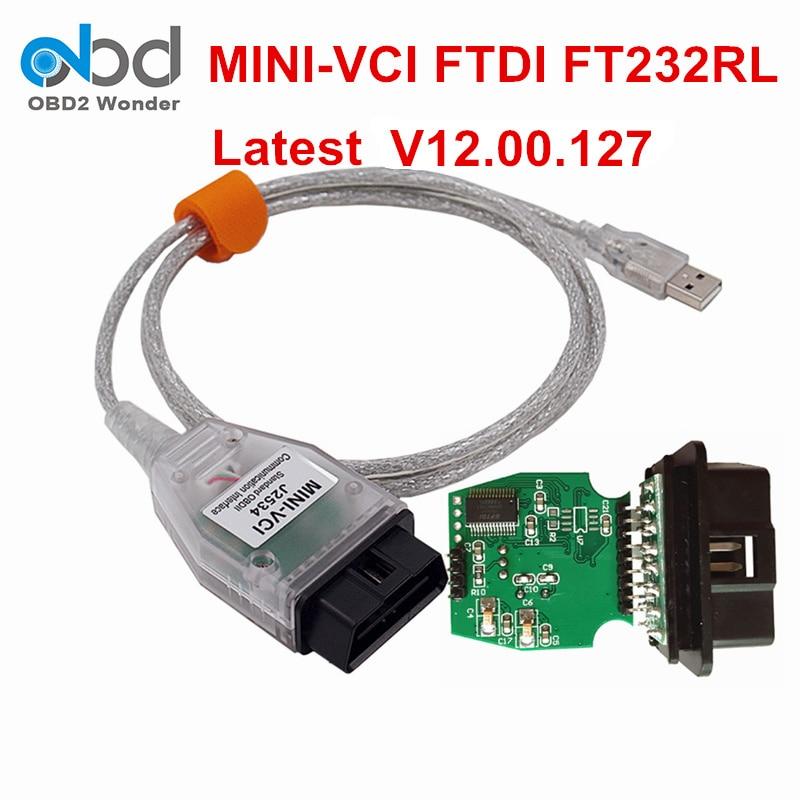Prix pour Meilleur Prix Mini VCI Pour Toyota Communication Interface Mini VCI J2534 V12.00.127 TIS Techstream OBD2 Câble De Diagnostic Connecteur
