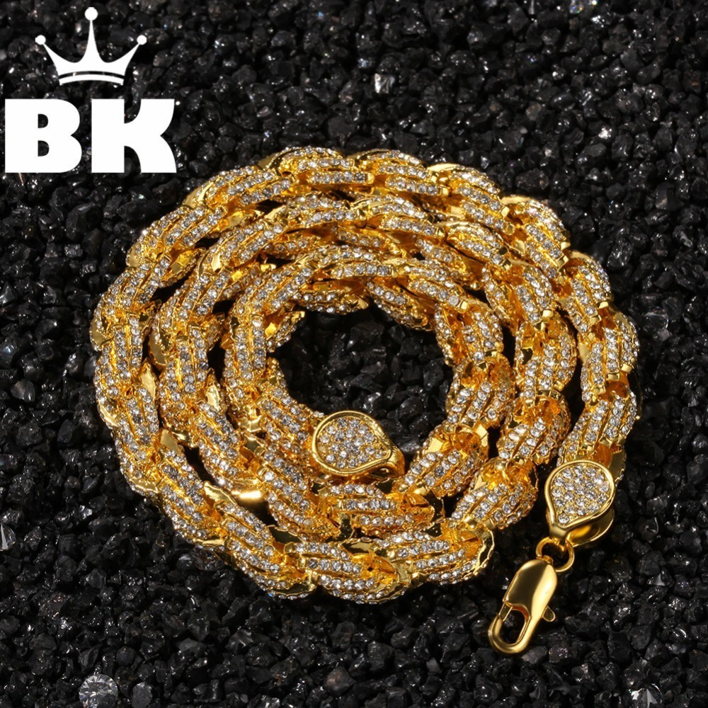 Mens Hip Hop Gold Color Iced Out Crystal 9mm Rope Chain Gold Silver 16inch to 24inch Necklace HOT SELLING THE HIP HOP KING