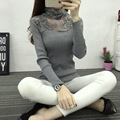 Fall winter 2017 New Women Lace Rhinestone Sweater Elastic Solid Turtleneck Sweater Slim Tight Bottoming Knitted Pullovers C809