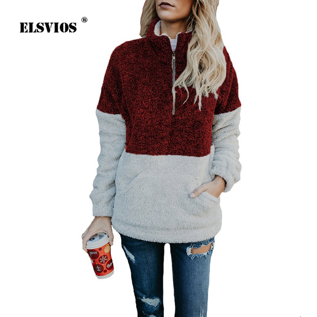 801b1617 US $21.97 |ELSVIOS 2018 Autumn Winter Sherpa Knit Soft Fleece ColorBlock  hoodies Women's 1/4 Zipper Pullover Outwear Coat kangaroo Pockets-in  Hoodies ...
