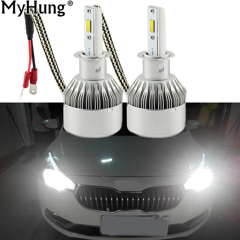 Car LED Headlight H7 H1 12V H11 H8 9005 HB4 9006 6000K 72W 7600LM H4 Truck Head Lamp Replacement Kit RDL 1pair Car Styling
