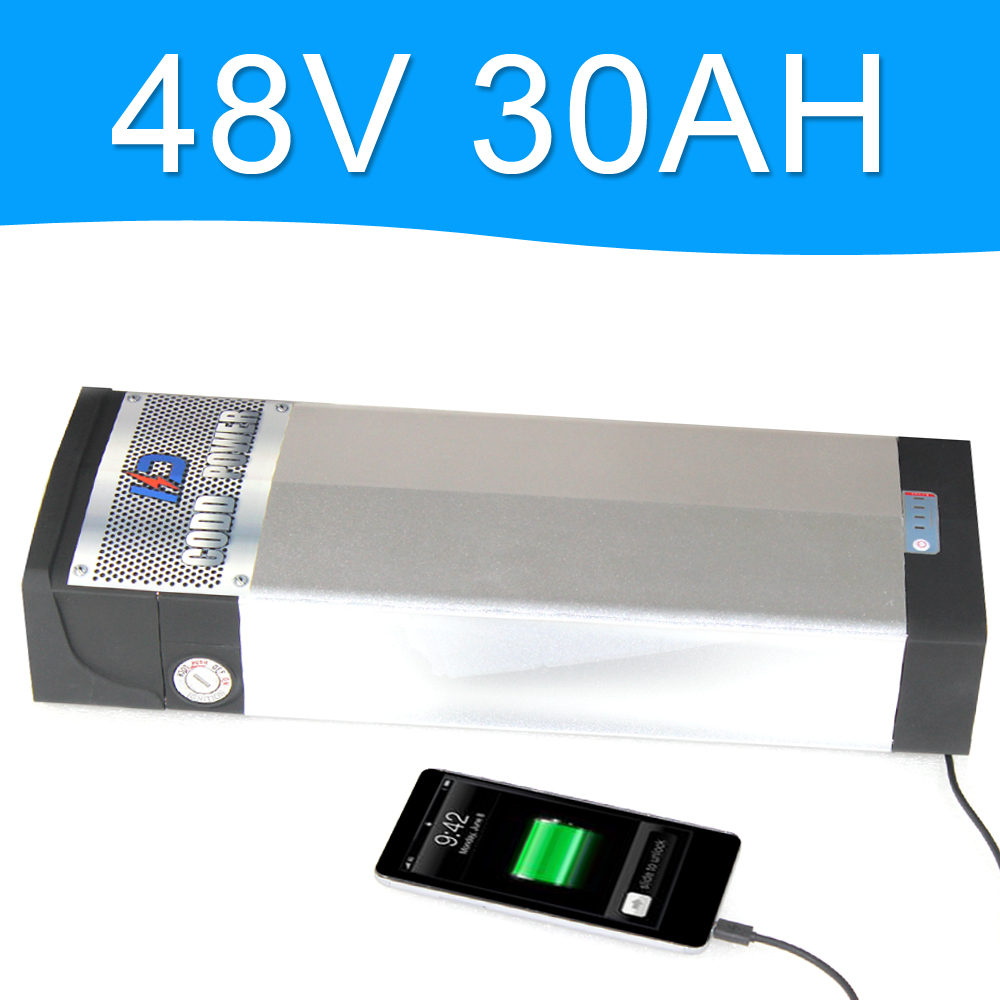 48V 2000W Lithium Battery 48V 30AH with 5V USB Port Aluminum alloy Rear rack Battery Pack 48V Electric bicycle 48v 8fun battery 48v 750w lithium ion battery 9ah battery fro g typ rear battery pack 48v electric bicycle 48v 8fun bbs02 battery