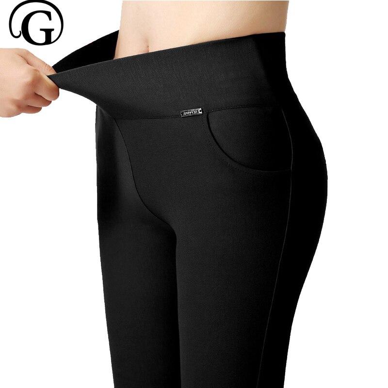 брюки   Leggings   Pants 5XL Trousers Elastic Waist Pencil Pants Plus Women High Quality Thigh Trimmer Lady High Waist Daily Wear