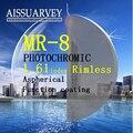 MR-8 1.61 index rimless optical photochromic HMC recipe high quality eyeglass lenses special designed Korea style man and women